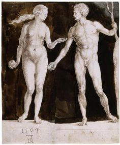 Adam and Eve, 1504, by Albrecht Dürer (1471–1528). Pen and brown ink, brown wash, corrections in white; 242 x 201 mm