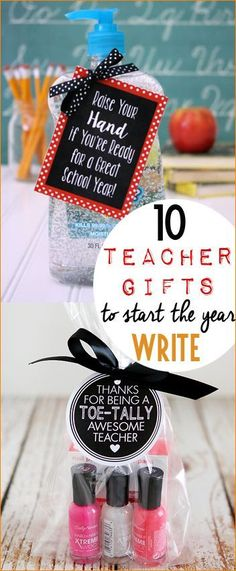 "10 Teacher Gifts to Start the Year Write!  Teacher appreciation gifts to say ""I'm excited you're my teacher.""  Punny gifts for teachers to celebrate the start of the new school year."