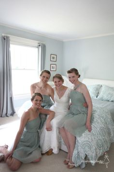 I love the sage green bridesmaid dresses!