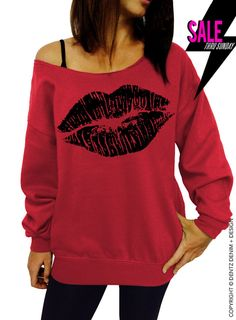 "Use coupon code ""pinterest"" Lipstick Kiss - Valentine's Day - Red Slouchy Oversized Sweatshirt by DentzDenim"