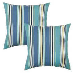 Hampton Bay 16 in. Rainforest Stripe Outdoor Toss Pillow (2-Pack)-7050-02226300 - The Home Depot
