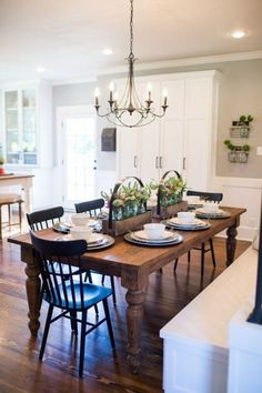 Episode 10 - The Copp House Fixer Upper- Dining Room Inspiration. Wood Farmhouse table with black chairs. Season 3 Episode 1 The Nut House New Kitchen, Kitchen Dining, Kitchen Decor, Kitchen Tables, Farm Tables, Dining Area, Fixer Upper Kitchen, Kitchen Ideas, Wood Tables
