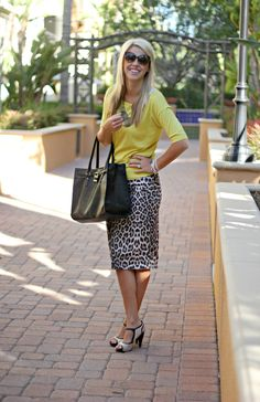 Kick up leopard print skirt with a bright top.  Love this.