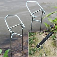 Simple Portable Travel Fishing Rod Holder Alloy Folding Fishing Pole Holders 2pc