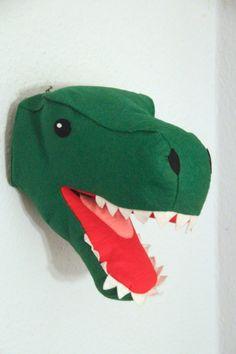 Filz Dinosaurier Kopf T-Rex Kopf Wanddeko von mimimade1 auf Etsy