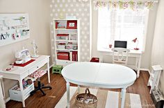 Adorable small craft room. Love the polka dots!!!
