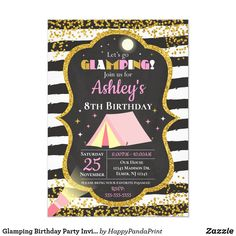 Glamping Birthday Party Invitation / Girls Camping Camping Birthday Invitations, Sleepover Invitations, Christmas Party Invitations, Pink Invitations, Girl Camping Parties, Minnie Mouse Party, Mouse Parties, Mickey Mouse, Diy Party Supplies