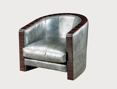 """LOUNGE CHAIR Materials:  Italian leather + macassar ebony Dimensions:  33""""W x 35""""D x 29""""H Options:  Italian leathers, velvet + wool. COM/COL addition - please inquire"""