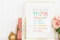 Classroom Rules Poster, Homeschool Rules Decor, Think Before You Speak, Homeschool Wall Print, Be Kind, Be Inspiring, Be True, Be Helpful - pinned by pin4etsy.com