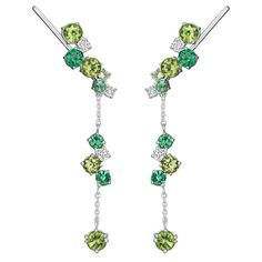 Melting Ice drop earrings with tsavorites, peridots and diamonds MADSTONE DESIGN