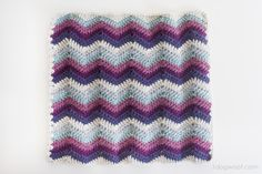 Ripple Chevron Afghan Square, free pattern by ChiWei of One Dog Woof; she says it's a bit of a rectangle, not a perfect square.  Foundation row is a multiple of 14 + 3   . . . .   ღTrish W ~ http://www.pinterest.com/trishw/  . . . .   #crochet #motif