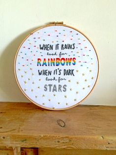 Rainbow Embroidery Hoop Art / Rainbow and by LittleFlossStudio