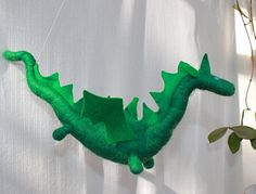 Wonderful green felt dragon.