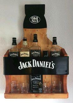 Jack Daniels Home Bar, daniels bottle crafts Jack Daniels Decor, Jack Daniels Bottle, Jack Daniels No 7, Man Cave Living Room, Barrel Projects, Man Cave Home Bar, Diy Gifts For Boyfriend, Wine Bottle Crafts, Wooden Diy