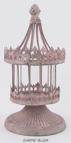 Windlicht Laterne Teelichthalter Metall Glas Shabby Chic Nostalgie Antik Rosa