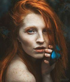 Marie... portrait with freckles redhead, ginger hair - blue butterfly - photo: Marketa Novak model: Marie Hlávková