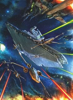 Star Destroyer and X-Wing battle Star Wars Ships, Star Wars Art, Star Trek, Star Destroyer, X Wing, Alex Ross, Cadeau Star Wars, Star Wars Painting, Nemo