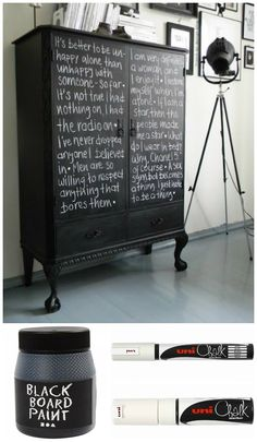 tavlemaling og kridttusch på gammelt møbel