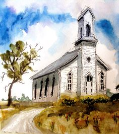"September 2011 Watercolor Challenge - Wayside Church - WetCanvas - study in ""distorted perspective"""