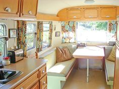 interior of vintage trailer