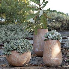 Verone Rustic planters via West Elm Rustic Planters, Stone Planters, Garden Planters, Succulents Garden, Concrete Planters, Large Terracotta Planters, Modern Planters, Outdoor Pots, Outdoor Gardens