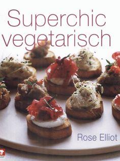 """Superchic Vegetarisch - Rose Elliot (2007). 100 vegetarische recepten om te serveren tijdens etentjes of feestjes. Meeste snel klaar te maken of al van tevoren voor te bereiden. Kwalitatief wat mindere foto's. Rose Elliot schreef nog 2 andere vegetarische kookboeken die in het Nederlands zijn vertaald. """"30 minuten Vegetarisch"""" (2013) en """"Vegetarische Superchef"""" (2005)."""
