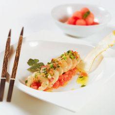 Ceviche de gambas con sandía #recipes #cuisine