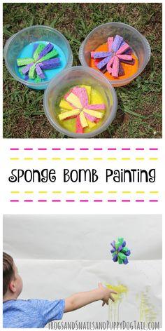 Sponge Bomb Painting for kids. Fun sensory art activity idea for kids.