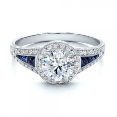 Diamond and Blue Sapphire Halo Vintage Engagement Ring