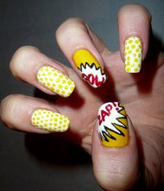 Nail art goes pop through Talonted's Roy Lichtenstein-inspired manicure. Pop Art Nails, Cool Nail Art, Roy Lichtenstein, Pop Art Fashion, Fashion Design, Beautiful Nail Designs, Nail Decorations, Gorgeous Nails, Geek Chic