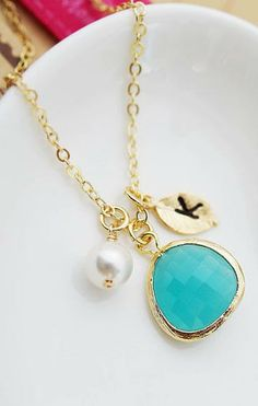 Mint + Gold Personalized necklace from EarringsNation