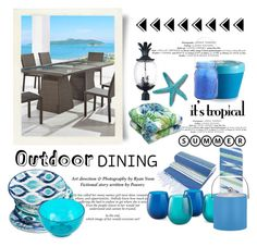 """Tropical Outdoor Dining"" by conch-lady ❤ liked on Polyvore featuring interior, interiors, interior design, home, home decor, interior decorating, NOVICA, Acclaim, Outdoor Oasis and Illume"