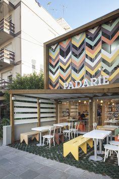 Outdoor Cafe Design Ideas – Cafe Interior and Exterior Cafe Exterior, Design Exterior, Facade Design, Interior And Exterior, Restaurant Exterior Design, Small Restaurant Design, Small Cafe Design, Cafe Bar, Commercial Design