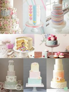 #Pastel Shade #Wedding #Cakes Mood Board from The Wedding Community