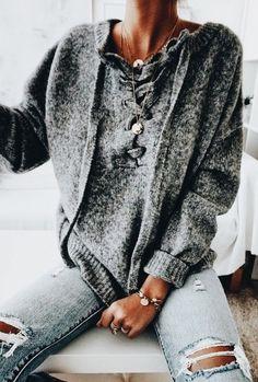 Lace up sweater + distressed denim.