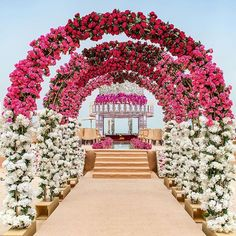 Let's jump to the list of off-beat Mehndi ceremony decoration ideas, that will lit up your decor in the best way, unique mehndi decor ideas Wedding Hall Decorations, Desi Wedding Decor, Wedding Entrance, Wedding Mandap, Floral Wedding, Pink Decorations, Wedding Arches, Wedding Receptions, Wedding Ceremony
