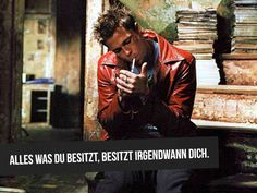 Played by Brad Pitt in Fight Club, Tyler Durden is a soap salesman who befriends Edward Norton on a business trip. He's a complete break from the meek Norton: Fight Club Brad Pitt, Fight Club 1999, Fight Club Tattoo, Tyler Durden, David Fincher, Fight Club Quotes, Best Movie Lines, Serenity Now, Movie Quotes