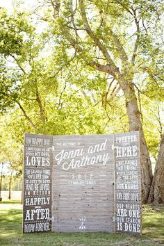 Photo Backdrop. Technically it's for a wedding but this would rock at an engagement party too (and can be used at the wedding again). Gorg!