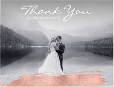 """This Romantic Modern Wedding Thank You Postcard features a Ros Gold Design of A faux simulated foil in brush stroke Style and a white elegant """"Thank You"""" handwriting script, over your own photo. You can easily edit the text with the couples names and change the picture."""