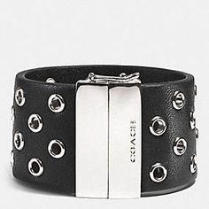 Coach :: HINGED LEATHER GROMMET BANGLE
