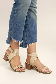 Steve Madden Gila Black Studded Ankle Strap Heels