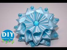 Master-class Kanzashi. DIY. Needlework. Scrunchy. Flor Kanzashi. - YouTube