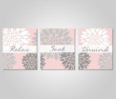 grey pink bathroom - Google Search Blush Bathroom, Gray Bathroom Walls, Bathroom Wall Art, Blush And Grey, Pink Grey, Blush Pink, Floral Wall Art, Printable Wall Art, Wall Art Prints