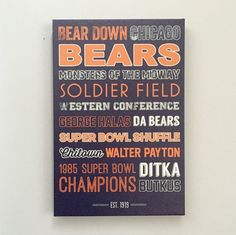 Chicago Bears Art Canvas or Poster by SarasPrints on Etsy Man Cave Basement, Man Cave Garage, Chicago Bears Man Cave, Ultimate Man Cave, Bear Decor, Man Cave Home Bar, Diy Bar, Bear Art, Graphic Design Typography