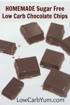 Here's a method to make your own stevia sweetened sugar free low carb chocolate chips. Can be made in large batches and stored in the refrigerator or freezer. Homemade Chocolate Chips, Sugar Free Chocolate Chips, Low Carb Chocolate, Chocolate Recipes, Coconut Chocolate, Chocolate Fudge, Unsweetened Chocolate, Melted Chocolate, Chocolate Covered