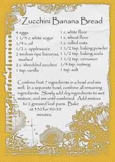 banana bread recipe card - photo #23