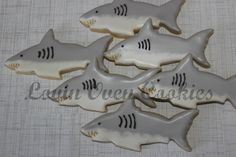 Great white shark decorated sugar cookies