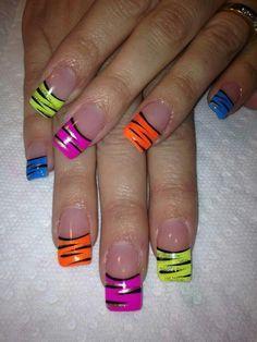 nails Neon acrylic nails Fun nails in 2019 Nail art nails nail ideas - Nail Ideas 80s Nails, Funky Nails, Cute Nails, Pretty Nails, Neon Acrylic Nails, Neon Nails, Rainbow Nails, Acrylic Art, Jolie Nail Art