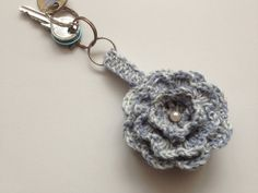 Sky Blue Keychain Crochet Flower Key chain