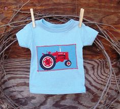 Baby Boys T Shirt Light Blue  Tractor 6 months by SouthernSister2, $15.00